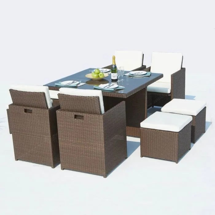 le sherka salon de jardin encastrable 8 places en resine tressee marron coussins blancs