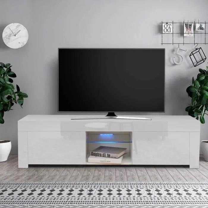 dripex meuble tv led brillant 130 cm blanc a