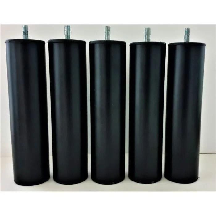 5 pieds de lit sommier tapissier en acier noir mat 20 cm vis filete m8