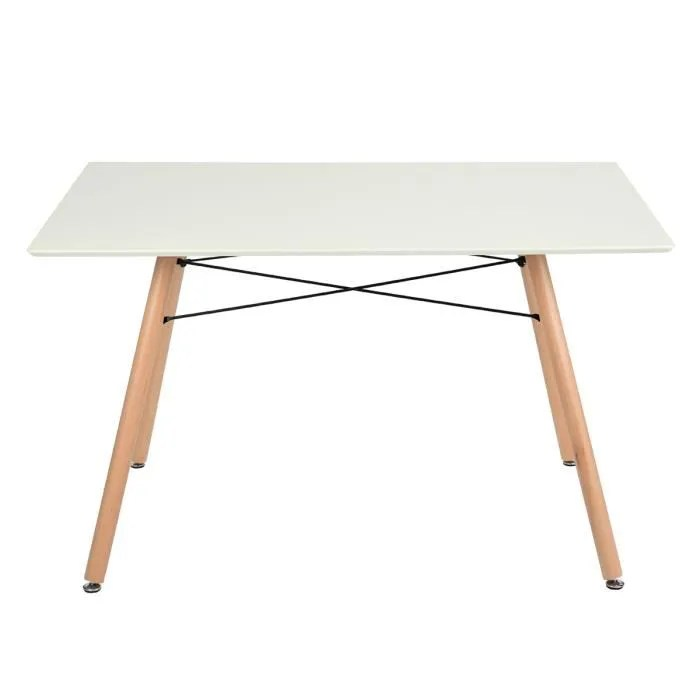 table a manger scandinave design pour 4 6 personnes rectangle bois blance l 110 x p70 x h 71 cm
