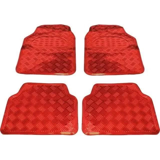 tapis de sol pour voiture aluminium rouge