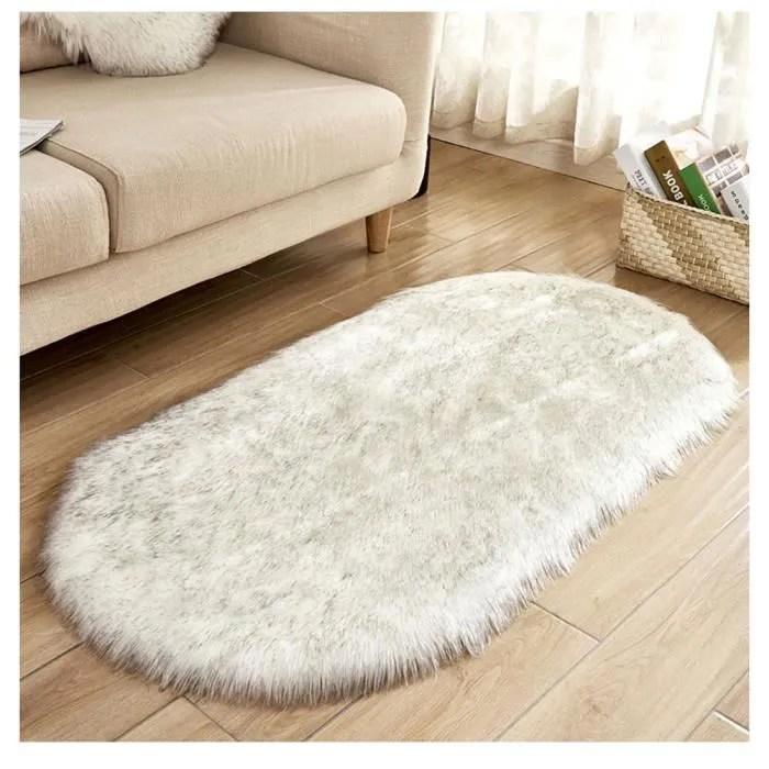 ovale tapis en imitation toison moquette antiderapant tapis carpette moelleuse pour chambre salon blanc noir 60 90cm