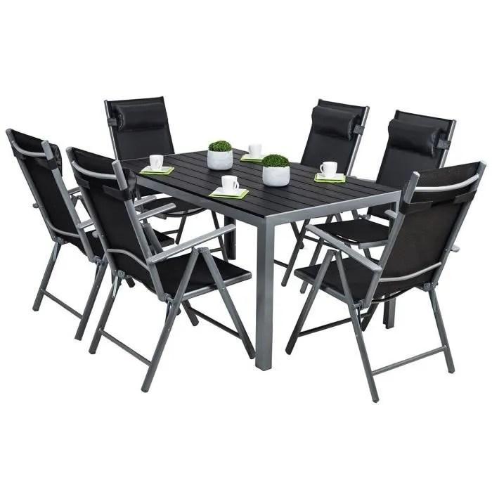 jardin 6 chaises table alu noir