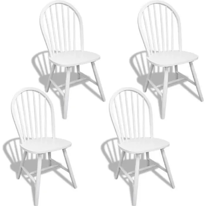 4pcs chaises blanches en bois avec dossier arrondi salle a manger ou cuisine 46 5 x 52 x 94 cm