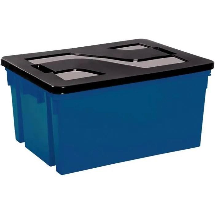 Bac De Rangement Avec Couvercle En Plastique 50 L Bleu Mineral Et Noir Cdiscount Maison
