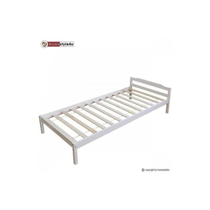 lit simple blanc 90x200