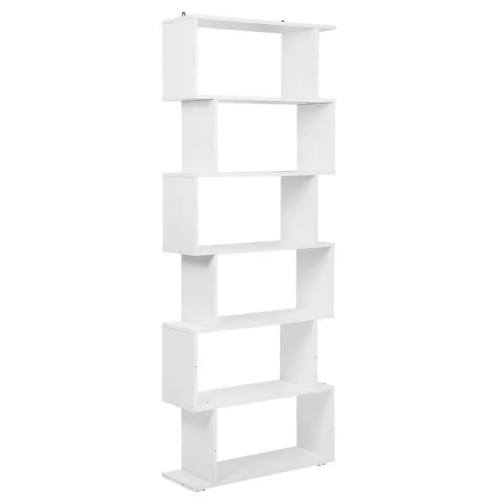 70 x 24 x 195 cm bibliotheque d angle 6 niveaux meuble de rangement pour livres decoration blanc