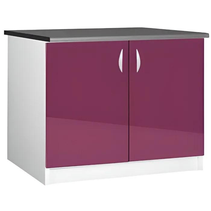 meuble cuisine bas 120 cm 2 portes oxane aubergine