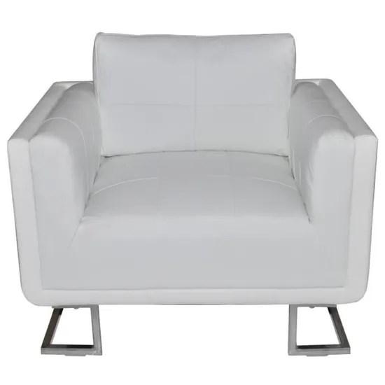 luxueux fauteuil cube en cuir blanc design simple confortable stable pour chambre salon haute qualite