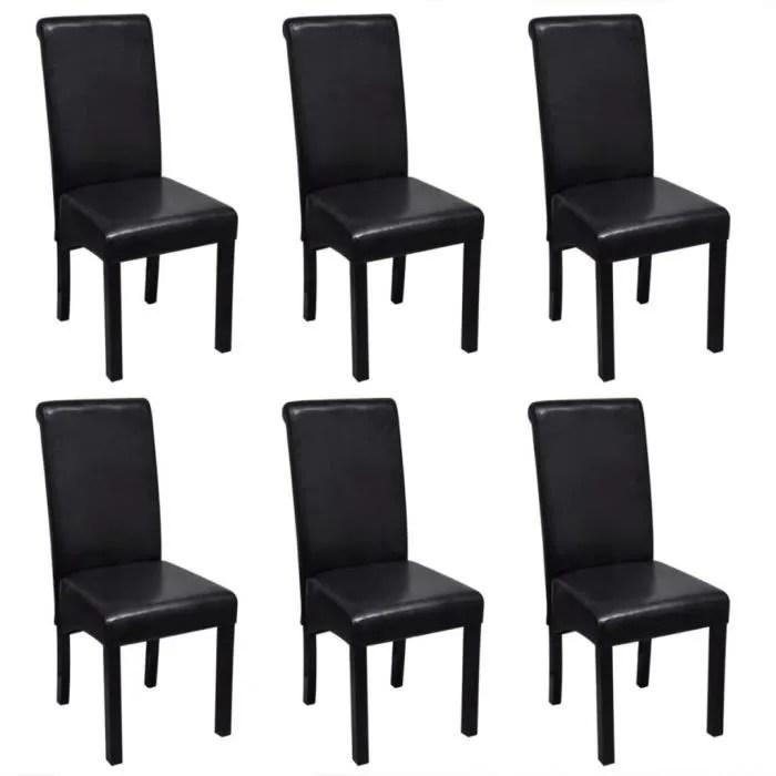 chaise de salle a manger 6 pcs cuir synthetique noir
