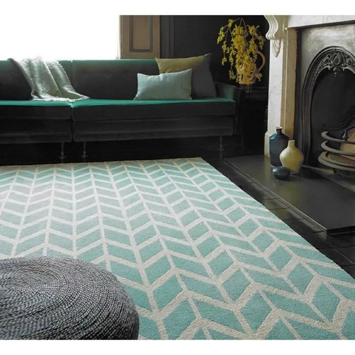 novatrend tapis salon moderne design geox bleu