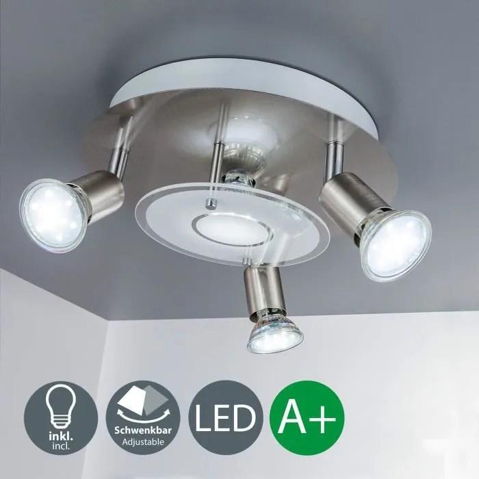 b k licht plafonnier led 4 spots x3w inclus spots led orientables eclairage salon salle a manger cuisine chambre lumiere