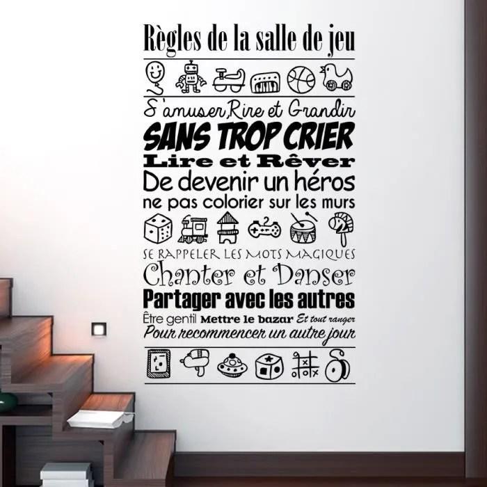 stickers muraux les regles de la salle de jeu decoration de la chambre des enfants