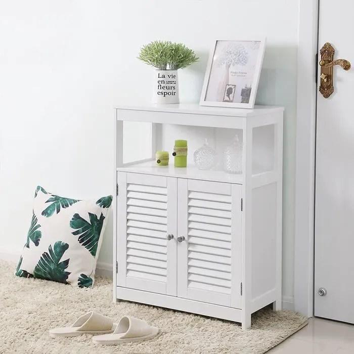 meuble bas de rangement commode de salle armoire de chambre avec 2 porte et 2 etageres blanc l 60cm h 80cm
