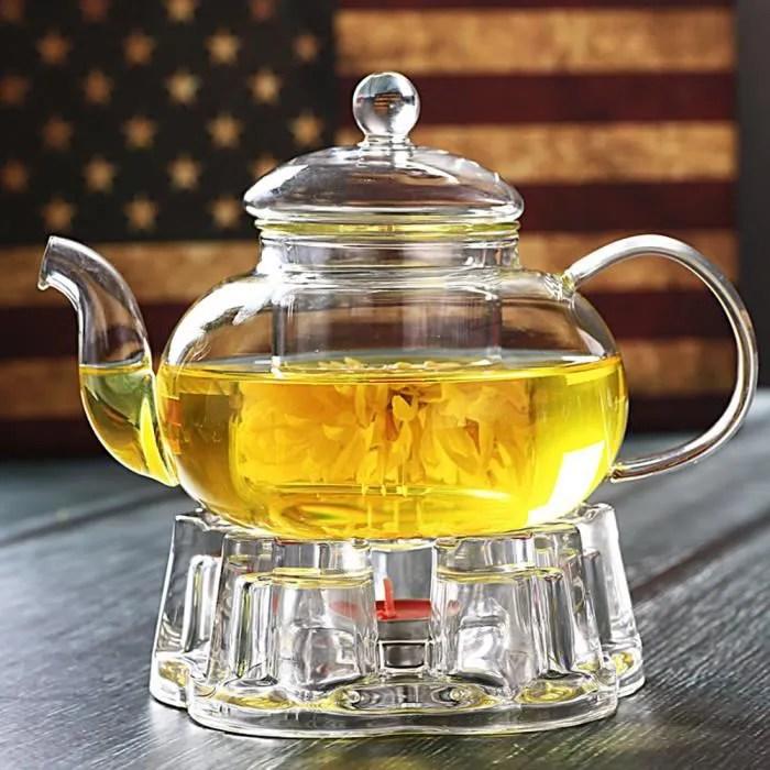 vente chaude 600 ml theiere en verre resistant a la chaleur transparente avec couvercle infuser filtre