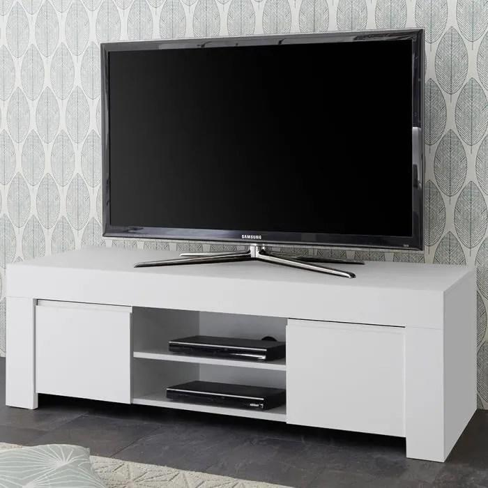 banc tv design blanc laque agathe blanc