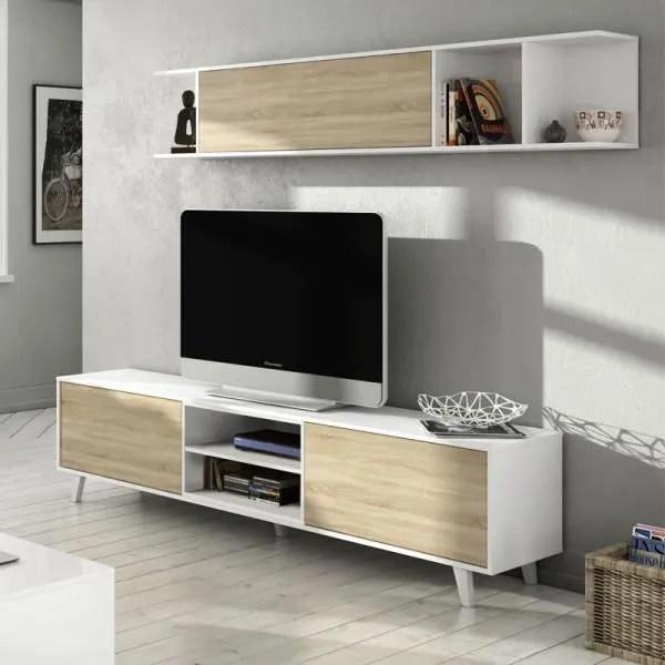 composition tv blanc brillant chene clair stockt