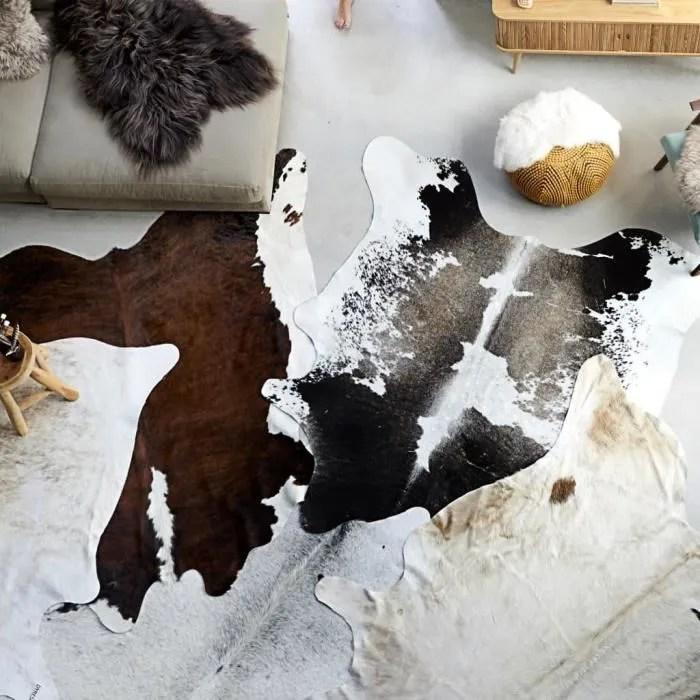 tapis en peau de vache veritable noir et blanc 150