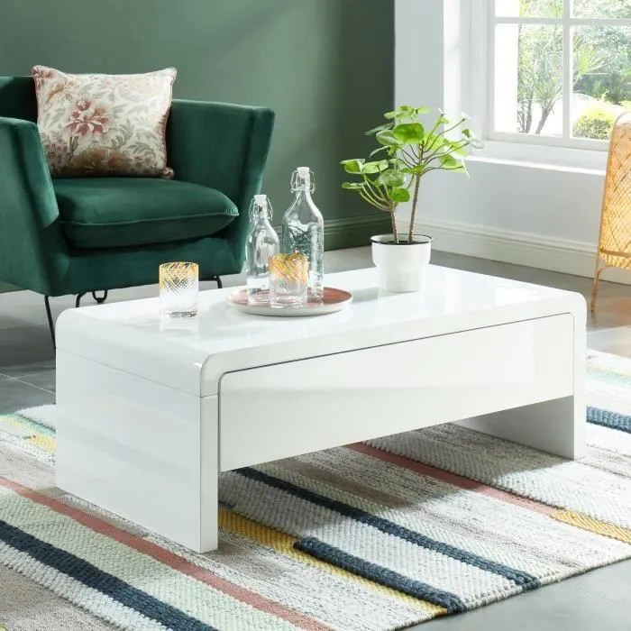 darwin table basse style contemporain laque blanc brillant
