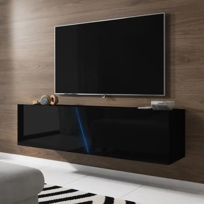 Meuble Tv Meuble Salon Alamara 160 Cm Noir Noir Brillant A Suspendre Avec L Eclairage Led Rgb Style Moderne Cdiscount Maison