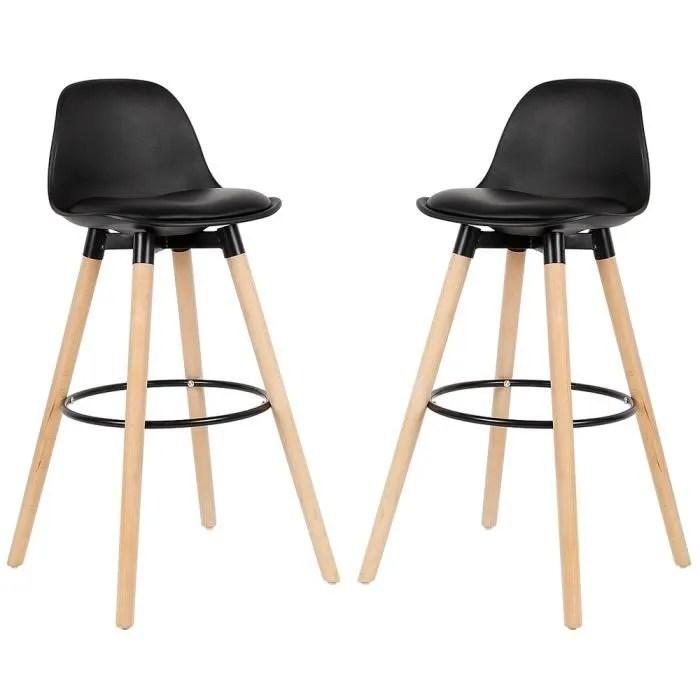 lot de 2 tabourets de bar simili noir chaises de b