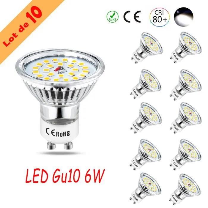 wowatt 10x ampoule led gu10 spot led 600lm blanc f
