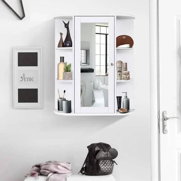 Placard De Salle De Bain A Miroir Meuble De Rangement Blanc En Mdf 60 17 58cm Achat Vente Miroir Salle De Bain Soldes Sur Cdiscount Des Le 20 Janvier Cdiscount