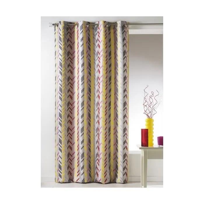 rideau en jacquard a rayures verticales multicolore 140 x 260 cm