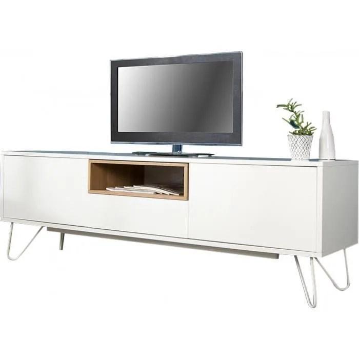 meuble tv 150 cm en chene massif et mdf