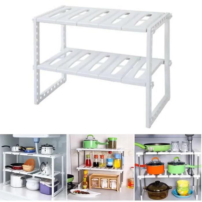 etagere sous evier double couches en plastique acier inoxydable modulable rangement organisateur stockage pour cuisine salle de bain