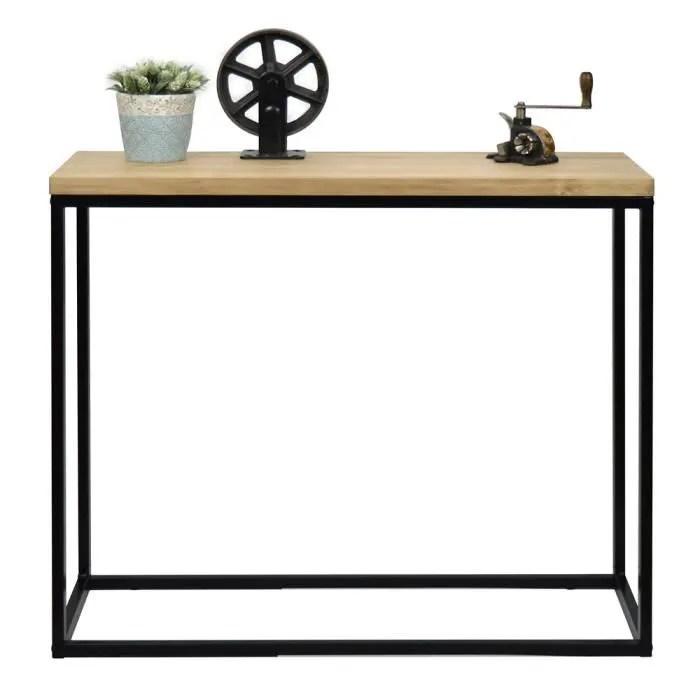 table d entree console icub big wood industriel vintage bois 3cm et metal noir 120x35cm 80cm haute