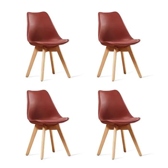 lot de 4 chaises scandinaves rouges