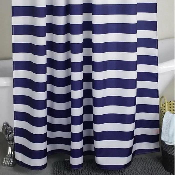 rideau de douche motif rayures bleu et