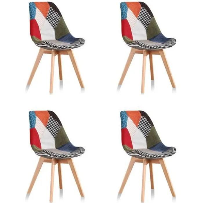 lot de 4 chaises scandinaves patchwork prague designetsamaison