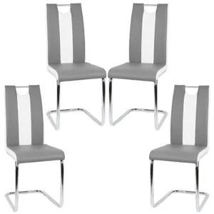 4 chaises gris et blanc