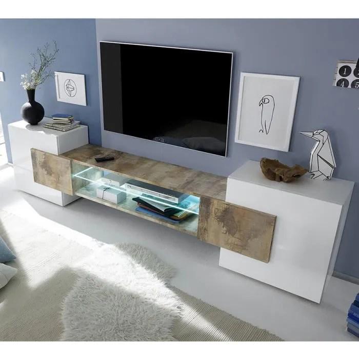 meuble tv moderne blanc laque brillant et couleur