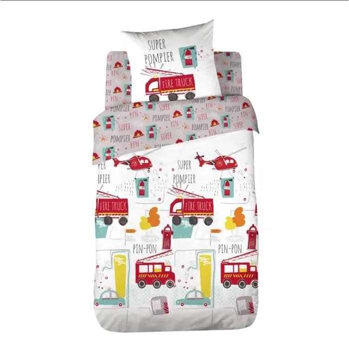 parure de lit enfant pompier housse de couette 100 coton 140x200 cm avec 1 taie 63x63 cm