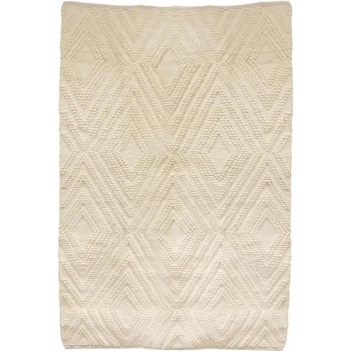 tapis en coton blanc casse motifs graphiques 120 x 170 cm 2 cm blanc