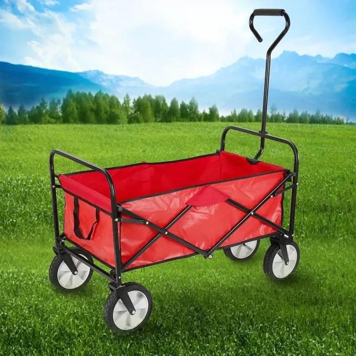 chariot de jardin remorque a main pliable avec 4 roues