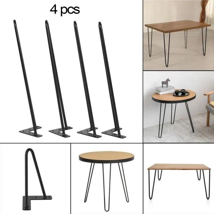 pieds de table en fer 4ps noir 22