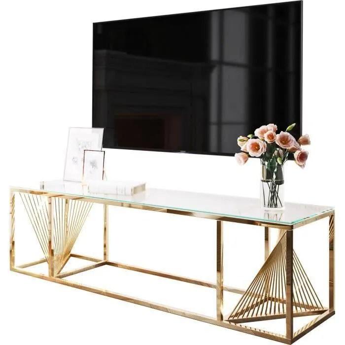 meuble tv design en acier inoxydable poli dore et