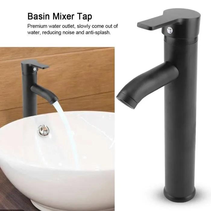 robinet en acier inoxydable noir mitigeur de lavab