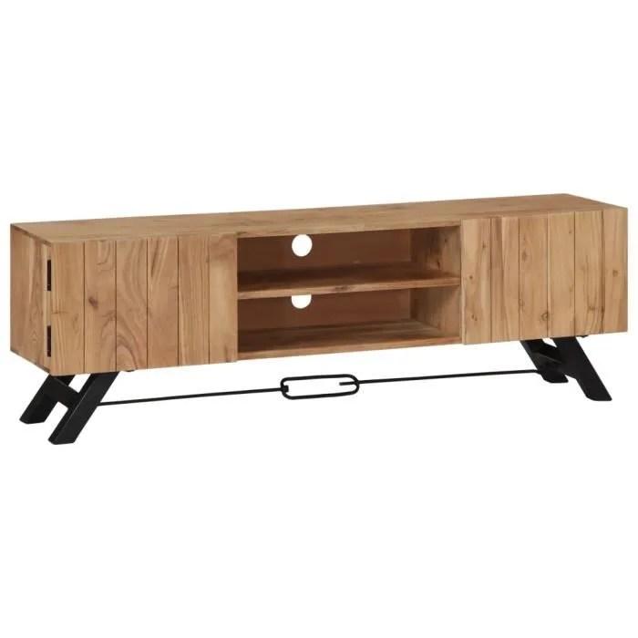 meuble tv 140 x 30 x 45 cm bois d acacia massif avec 2 compartiments et 2 portes