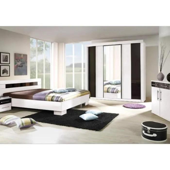 chambre a coucher complete dublin adulte design blanche lit 160x200 cm armoire commode 2 chevets
