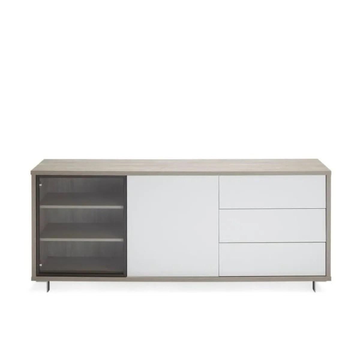 Enzo Buffet Bas Coloris Chene Structure Blanc Laque Blanc Cdiscount Maison