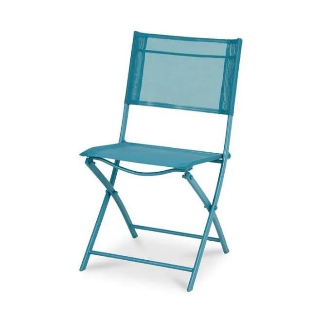 chaise pliante pliable bleu metal pour jardin exterieur cadre acier assise et dossier polyester