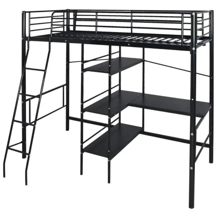 lit mezzanine avec bureau en metal