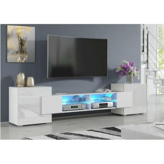 meuble tv pablo 230 cm avec led blanc
