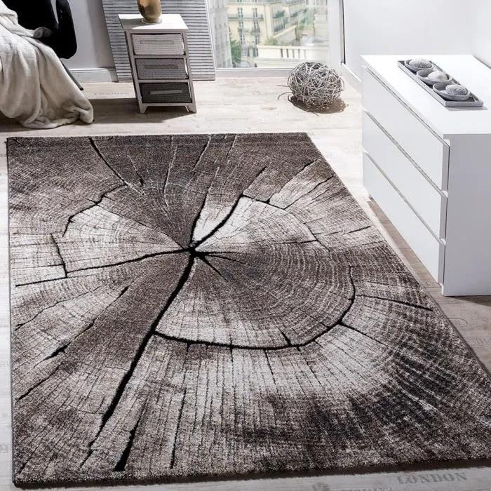 tapis design elegant salon tronc d arbre effet d optique nature gris brun beige 120x170 cm