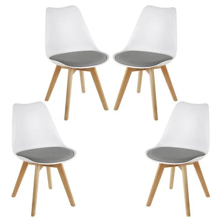 4 chaises scandinave fauteuil blanc et